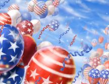 July 4 - the day of America - balloons in the sky
