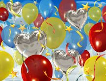 Happy Birthday to all - balloons in the air HD wallpaper
