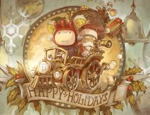 Santa and elves on the train - Happy Holiday HD wallpaper