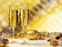Happy New Year - snow over glasses of champagne HD wallpaper