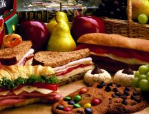 Delight taste buds - cookies, fruits, sandwich HD wallpaper