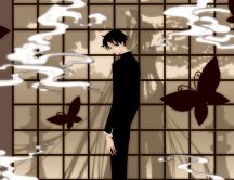 Shadows behind the window - anime boy inside HD wallpaper