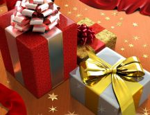 Stars on the floor and Christmas presents HD wallpaper