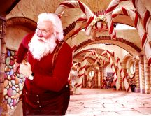 Santa Claus ready to start sharing gifts HD wallpaper