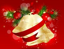 Christmas bells in a wreath HD wallpaper