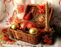 Straw basket filled with Christmas decorations HD wallpapers