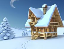 Drawing - a wooden chalet in middle of nowhere HD wallpaper