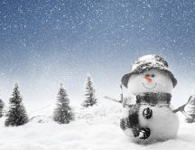 Snowman tall as tree HD winter wallpaper