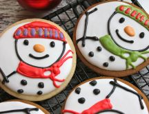 Christmas cookies - snowmen painted on crackers