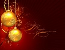 Merry Christmas - golden ornaments on a red background