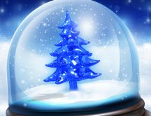 Christmas tree in a crystal ball HD wallpaper