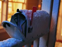 A mailbox full of letters to Santa Claus HD wallpaper