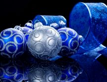 Special decorations for Christmas- blue and silver ornaments