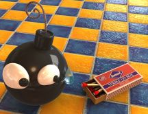 3D funny wallpaper - a bomb scared of matches