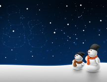 Father and son - constellation snowman HD wallpaper
