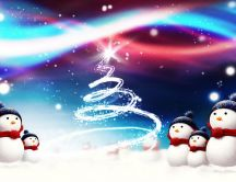 Snowmen impressed by the fireworks HD wallpaper