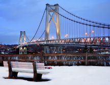 Mid Hudson bridge in Winter season HD wallpaper
