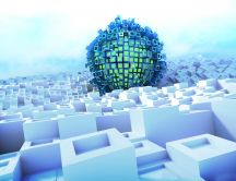 Abstract wallpaper 3D blue Lego ball