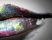Lips painted with watercolors HD wallpaper