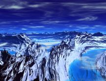 Abstract blue mountains - 3d wallpaper