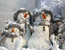 The snowmen family - hd wallpaper