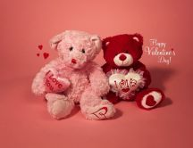 Two fluffy teddy bears - Valentine's Day