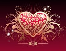 Golden Heart - art design HD wallpaper