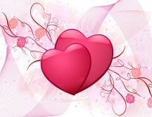 Two pink hearts - Valentine's Day HD wallpaper