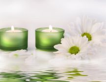 Candles and white spring flowers - relaxing time