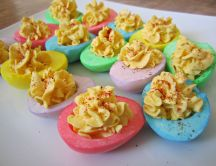 Half colored eggs - Easter dishes