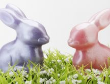 Two glittery Easter bunnies - chocolate bunny