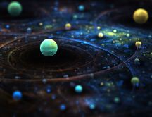 Solar system in 3D - Artistic HD wallpaper