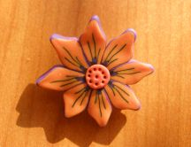Orange brooch handmade