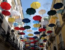 Umbrellas placed on a wire to dry