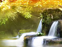 Spring landscape - sunshine and waterfall