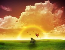 Hot air balloons on background HD wallpaper