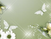 Flowers and butterflies - beautiful spring background