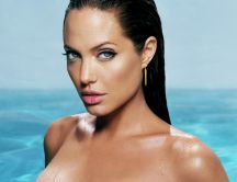 Beautiful actress Angelina Jolie at the pool