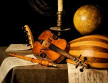 Musical instruments and other wooden objects