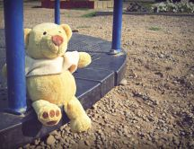 A teddy bear on a swing