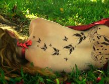 Wonderful tattoo - music and butterflies