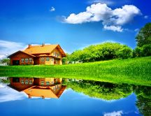 Beautiful holiday house - mirror in the lake