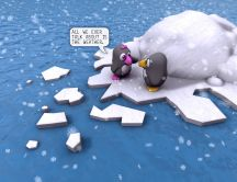 Two little funny penguins - HD wallpaper