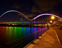 Rainbow bridge - show colors on the water