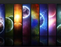 Wallpaper with the eight planets