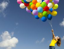 Happy day - hundreds of colorful balloons