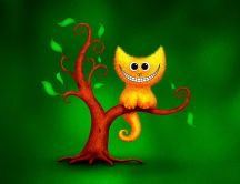 Yellow cat in the tree - funny drawing wallpaper