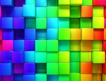 Colorful wall of cubes in 3D - HD wallpaper