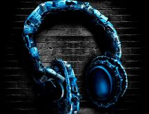Abstract headphones - music is art