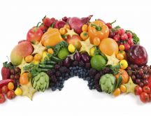 A big pile of fresh fruits and vegetables
